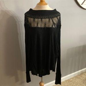 Free People NWT Black Waffle Knit Lace Long sleeve Top Medium